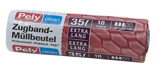 360 Stück pely 8514 Pelyclean Zugband-Müllbeutel, 35 Liter, extra lang 18-Stück pro Rolle, 1 Karton = 20 Rollen