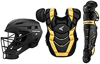 Easton Elite X Baseball Catchers Equipment Box Set | Youth | Black/Gold | 2020 | Small Helmet | Chest Protector + Commotio Cordis Foam | Leg Guards | NOCSAE Approved All Play Levels
