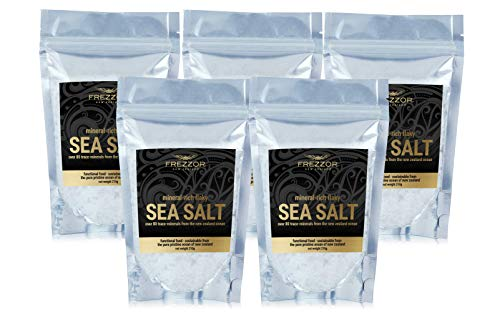FREZZOR Mineral-Rich Flaky SEA Salt, 5-Pack, Premium Gourmet, Unprocessed Kosher Flakes, 84 Minerals & Trace Elements, 100% All-Natural, New Zealand Solar & Wind Harvested, Lab Certified, 37 Ounces