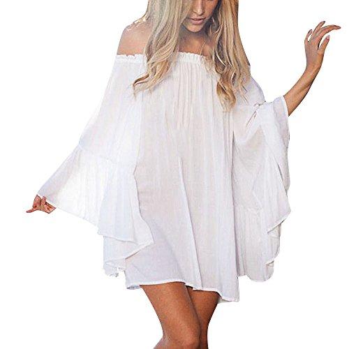 Battnot Damen Bikini Cover Ups Strandkleid Sommerkleid Sonnenschutz Schulterfrei Solide Weiß XL, Frauen Baggy Badeanzug Abdeckung Vertuschen Vertuschung Strickjacke Bademode Capes Abdeckung Beachwear