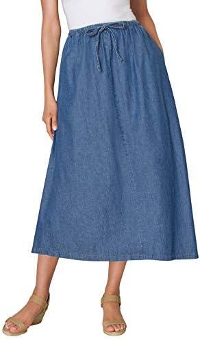 Woman Within Women s Plus Size Flared Denim Skirt 18 W Stonewash product image