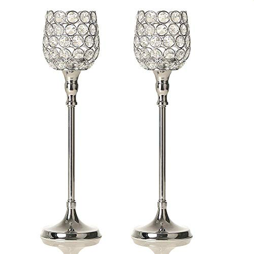 VINCIGANT Silver Crystal Candlesticks Holders Set of 2 for Anniversary Celebration Dinning Room Table Centerpieces Decorations,2PCS 14.6 Inches Tall