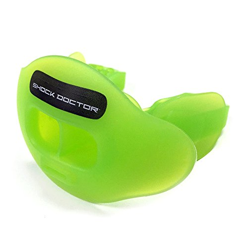 Shock Doctor Max Airflow Lip Guard / Mouth Guard. Football Mouthguard 3300. For Kids / Youth and Adults. Breathable Wide Opening Mouthpiece. Helmet Strap Included, TRANSGREEN