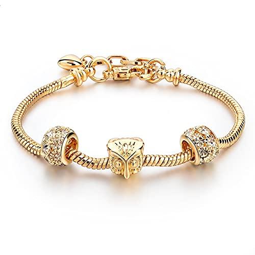 CLEARNICE Pulsera y brazaletes de Animales de búho de Oro, dijes para Mujeres, joyería de Plata, Pulseras Ajustables