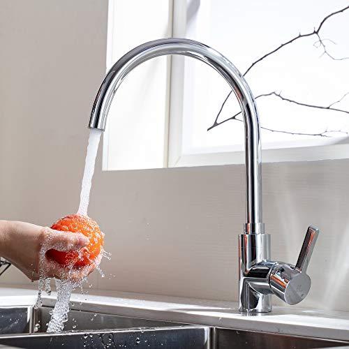 HOMELODY Niederdruckarmatur Küche 360° drehbar aus Messing Wasserhahn Spültischarmatur Küchenarmatur Mischbatterie Spülbecken Küchenspüle Einhebelmischer für Boiler