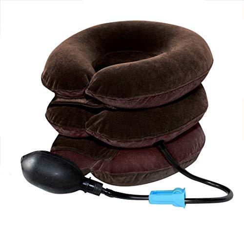 Cervical Neck Traction 3 Capas Cuello Dispositivo de tracción Dolor de Cabeza Dolor de Hombro Relájese Soporte Brace Almohada Movilidad Relajante Aire Suave Soporte de Protector de Cuello