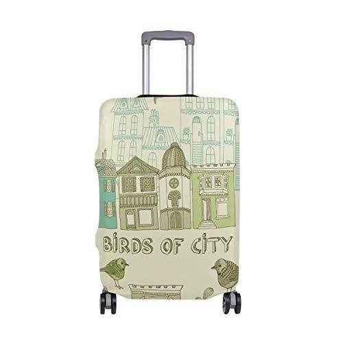 ALINLO - Funda para maleta de equipaje vintage con diseño de pájaro de la ciudad para 18 a 32 pulgadas, multicolor (Multicolor) - sdv5542488bbxvb