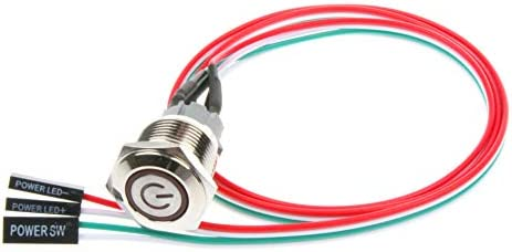 NOYITO 12mm Chassis Switch Metal Button Switch with 22inchs Extension Cable Red Yellow Blue product image