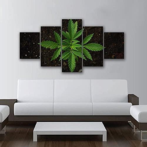 BHJIO Impresiones En Lienzo 5 Piezas Cannabis Majestic Plant Poster HD En Lienzo Modular Modern Interior Decorations Wall Art-Tamaño Regalo 150 * 80Cm.