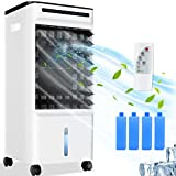 4-in-1 Evaporative Air Cooler, 65W Air Conditioner with 3 Modes, 3 Fan Speeds, LED Display, Remote Control, 7H Timer, 5L Water Tank and Ice Pack