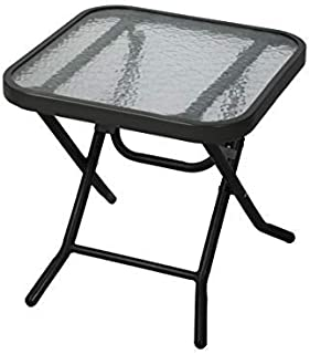 Havnyt Mesa de centro plegable negra para jardín, patio, mesa auxiliar de metal