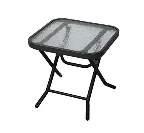 Havnyt - Mesa auxiliar plegable de metal para exterior, color negro