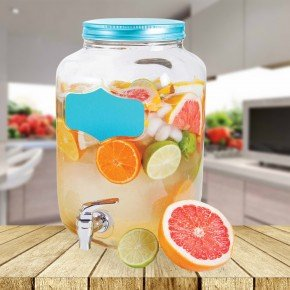 Premium 1 Gallon Mason Jar Beverage Dispenser with Writeable Labels