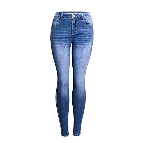 Jeans Ajustados de Tiro Medio con Lavado Todo-fósforo para Mujer Moda Clásico Retro Estampado de Rayas Laterales Confort Jeggings con Curvas M