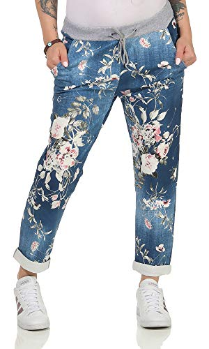 CLEOSTYLE Damen Jogginhose im Boyfriend-Style Sweatpants für Freizeit Sport und Fitness 29 (36-40, Blau/Blume)