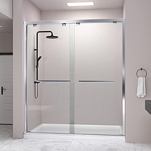 DELAVIN 57-59 in. Semi-Frameless Bypass Shower Door, Bathroom Sliding Shower door, SGCC Tempered Glass Door with Explosion-Proof Film, Stainless Steel, Aluminum