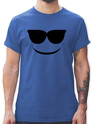 Karneval & Fasching - Sonnenbrillen Emoticon Karneval - L - Royalblau - Herren Tshirt Aufdruck - L190 - Tshirt Herren und Männer T-Shirts