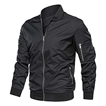 TACVASEN Lightweight Jacket for Men Softshell Fall Thin Bomber Coat Black L