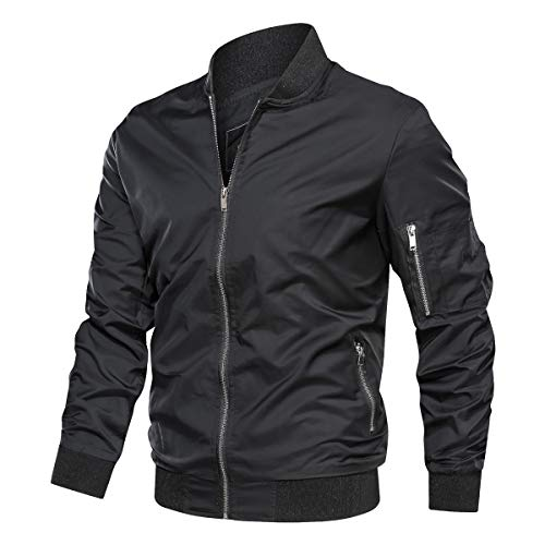 TACVASEN Lightweight Jacket for Men Softshell Fall Thin Flight Bomber Coat, Black M
