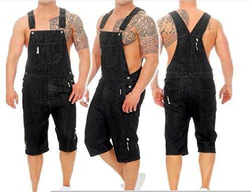 Mens Bib Overall Denim Shorts Jeans Casual Loose Fit Walkshort Jumpsuit Pockets Rompers,Black,M