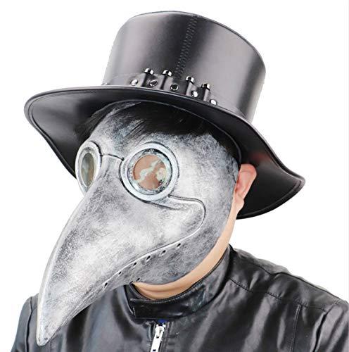NECHARI Plague Doctor Mask Steampunk Bird Mask Later Long Beak Masquerade Party Costume Mask (Silver-01)