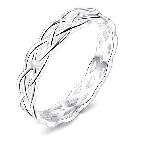 INBLUE 925 Sterling Silber Infinity Triquetra Irische keltische Knotenringe für Frauen Mädchen Liebhaber Schwestern Verlobung Hochzeit Versprechen Schmuck für Muttertag Valentinstag Freundschaft