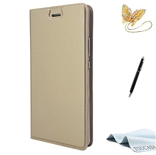 TOUCASA Huawei P9 Lite Handyhülle,Huawei P9 Lite Hülle, Brieftasche flip Versteckte Magnetische 0.2cm Super dünn 33g Ultraleicht 360 stoßfest mit Lebenszeitgarantie für Huawei P9 Lite(Golden)