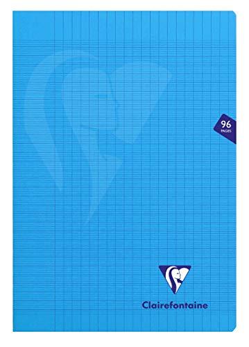 Clairefontaine 323161C - Un cahier piqué Mimesys 96 pages 21x29,7 cm 90g grands carreaux, couverture polypro (plastique), Bleu