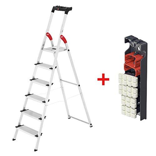 Hailo 6 Stufen Alu-Sicherheits-Haushaltsleiter XXL mit Multifunktionsschale und inklusive gratis Wechselfüße living - Max. Arbeitshöhe 305 cm