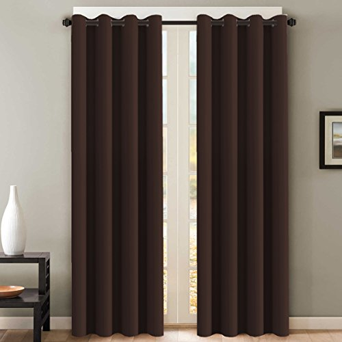 H.VERSAILTEX Thermal Insulated Blackout Curtains for Living Room 108 Inches Long, Window Treatment Grommet Top Extra Long Panels/Drapes for Bedroom (52-inch by 108-inch, Chocolate Brown, Set of 2)