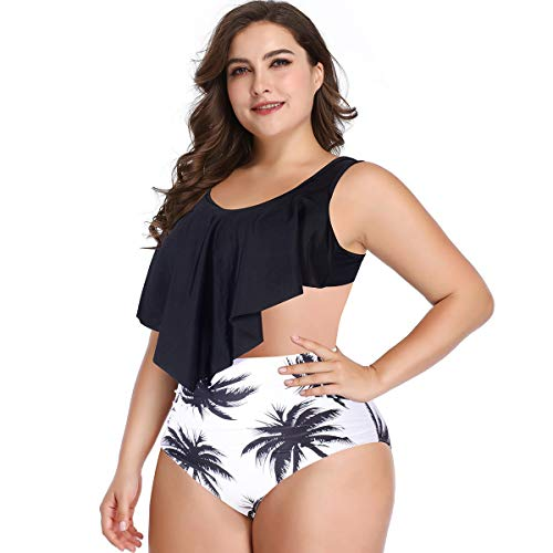 Bikini Traje de baño for Mujeres Bañadores de Cintura Alta Control de la Barriga de Dos Piezas Tankini Top con Volantes con Parte Inferior de la Nadada (Color : Negro, Size : XL)