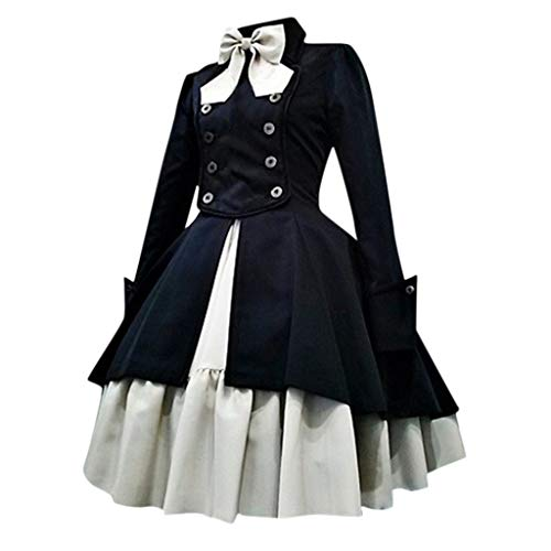 Allence Damen Langärmliges Spitzenkleid aus Trompetenärmel Korsage Kleid Steam Punk Gothic Magic Mistress Teufelchen Halloween Cosplay