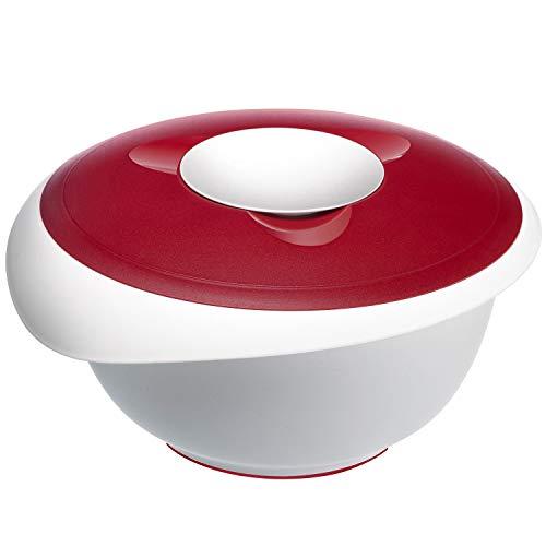 Westmark Rühr-/Backschüssel mit zweigeteiltem Deckel, 3,5 l, Mit Ausgießer, Kunststoff, Weiß/Rot, 3155227R
