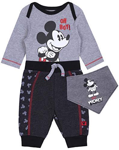 sarcia.eu Body + Pantalon + bavette Gris foncé Mickey Mouse 0-2 Mois