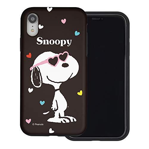 iPhone XR ケース と互換性があります Peanuts Snoopy ピーナッツ スヌーピー ダブル バンパー ケース デュアルレイヤー 【 アイフォンXR 】 (スヌーピー なサングラス 黒) [並行輸入品]