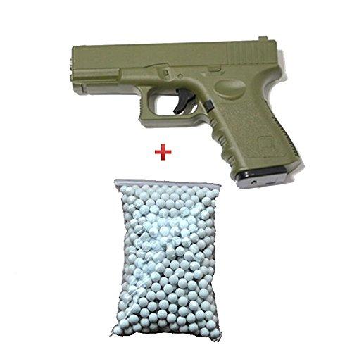 Pack de regalo de pistola para Airsoft, G17/19, de metal, OD/Verde, 0,5 Julios, 6 mm de resorte, con 600 balines gratuitos - G15G