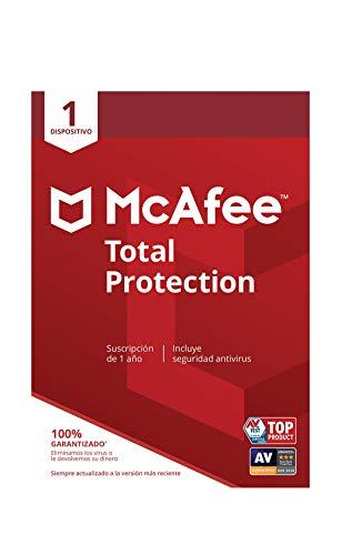 McAfee Total Protection - Antivirus | 1 Dispositivo | Suscripción de 1 año | PC/Mac/Android/Smartphones | Código de activación por correo