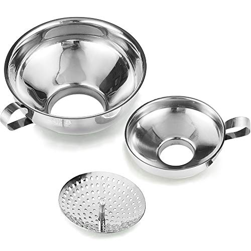 Delove Canning Funnel with Strainer for Wide and Regular Jars - Wide-mouth Kitchen Funnel for Mason Jars - Canning Supplies Kit - Stainless Steel - 3 Pack (Small and Large)