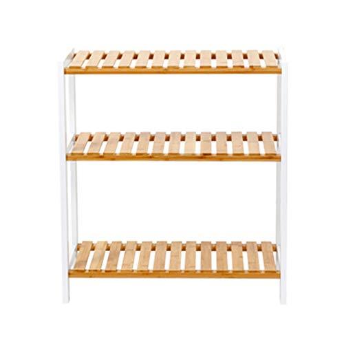 LSSB 3/5 Nivel Zapatero De Bambú Casa Estante De Almacenamiento Alta Capacidad Estante para Libros para Sala De Estar Pasillo Balcón Puesto De Flores, 4 Tamaños (Color : White, Size : 66cm High)