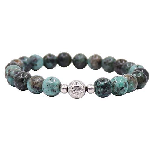 UEUC Silber vergoldet Double Happiness Lucky Armband, Healing Gemstones Armband, natürliche 8 mm Perlen Stein Damen Armband