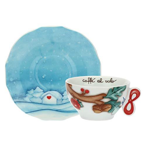 THUN ® - Set 2 Tazze Medie per tè, caffè, tisana - Linea Chiaro di Luna - Porcellana - 160 ml - Ø 10 cm