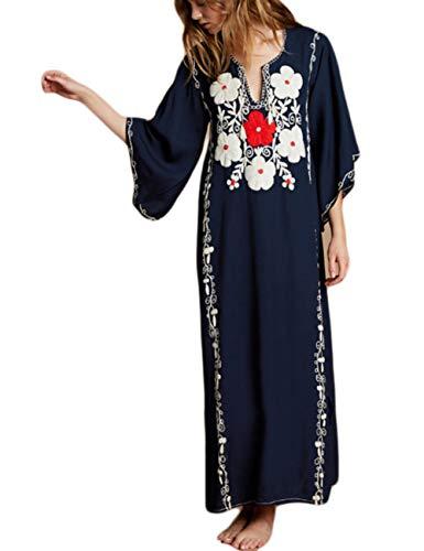 Bsubseach V Neck Beach Dress Swimsuit Cover Up Women Swimwear Long Turkish Kaftan Caftan Navy Blue