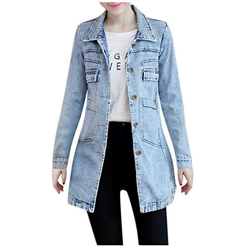 FRAUIT Damen Lange Jeansmantel Tasche Elegant Jeans Jacke Vintage Denim Trenchcoat Strickjacke Mode Streetwear Slim Fit Schön Kleidung Bluse Top Outwear Coat S-5XL
