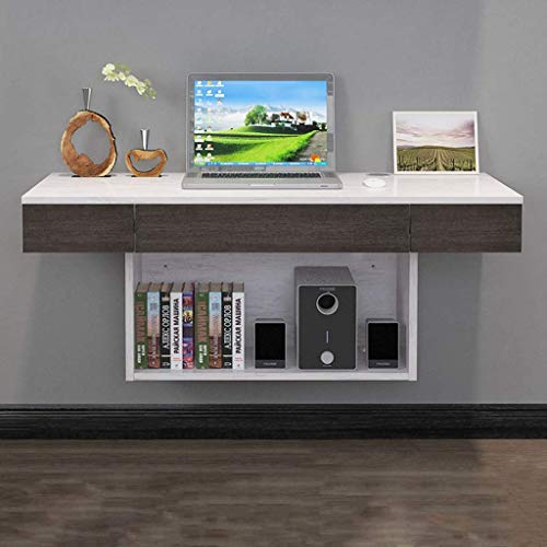 ZXYY Computerbureau, wandrek, plank voor notebook bureau hoek lade dvd kast multitouw 100cm-grayish White