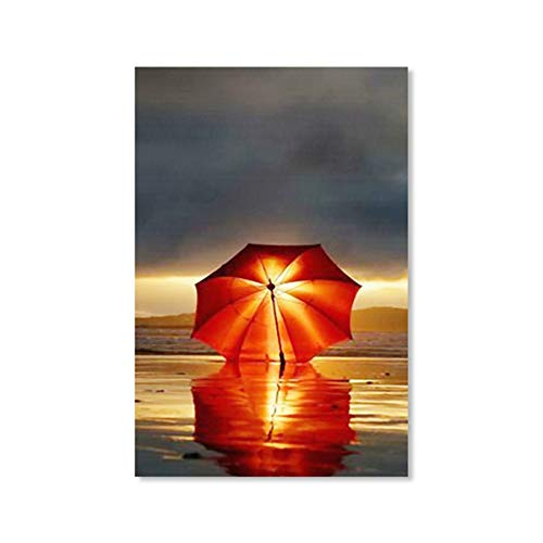 WSWWYOmbrello Rosso Parete Paesaggio Decorazione della casa Decorativa Tela Arte Albero Stampa HD Pittura Camera da Letto A 50x70cm No Frame