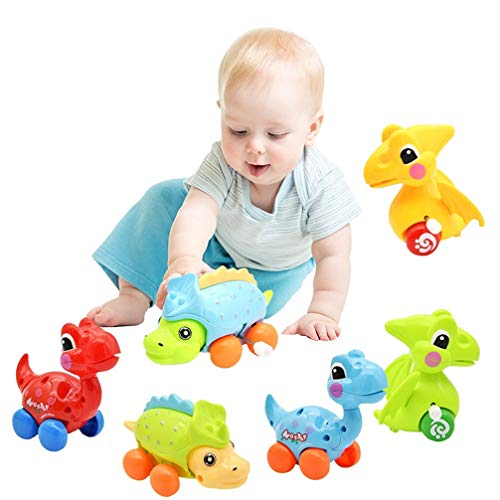 Dinosaur Toys for 2 3 4 5 6 Year Old Boys Girls, Kids Stocking Stuffers, 6-Pack Dinosaur Cars Wind-up Toys for Kids Party Favors,Birthday Gift Supplies Favors - Random Color