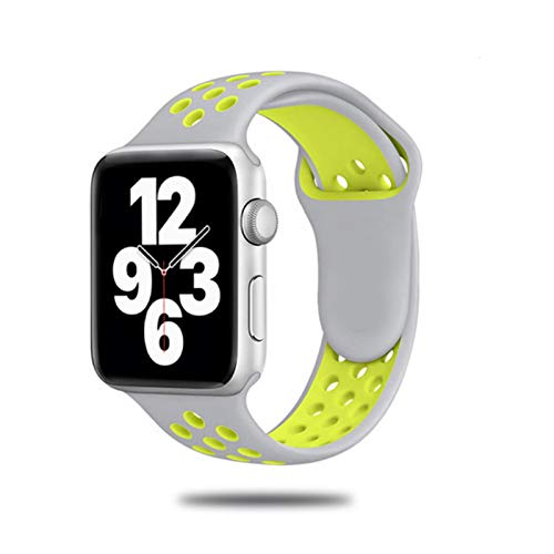 Correa de silicona para Apple Watch Band 44 mm 40 mm 42 mm 38 mm Reloj inteligente transpirable Pulsera deportiva para IWatch Serie5 4 3 SE 6-plateado Amarillo 3, Para 38 o 40 Mm
