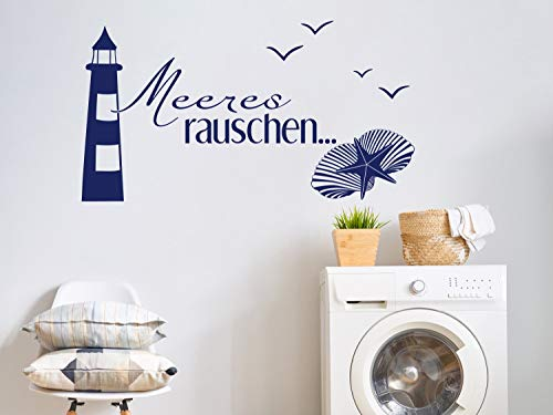 GRAZDesign 650166_30_049 Wandtattoo maritim Meeres-Rauschen/Leuchtturm | Badezimmer-Wände mit Aufkleber gestalten | WC/Toilette (55x30cm // 049 königsblau)