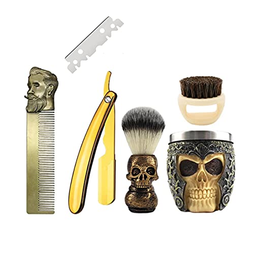 ZENZOD SKULL themed STRAIGHT RAZOR KIT 6 piece Mens shaving set- Barber style for closest Shave possible with a straight edge razor - Perfect straight razor kit for beginners