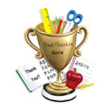 Personalized Best Teacher Trophy Christmas Tree Ornament 2020 - ABC Scissors Pencil World's Lecturer New College High Middle Profession Primary Secondary Gift Year - Free Customization